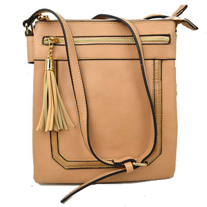 Front zip & tassel crossbody bag - tan