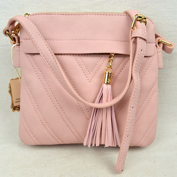 Chevron pattern crossbody with tassel - blush