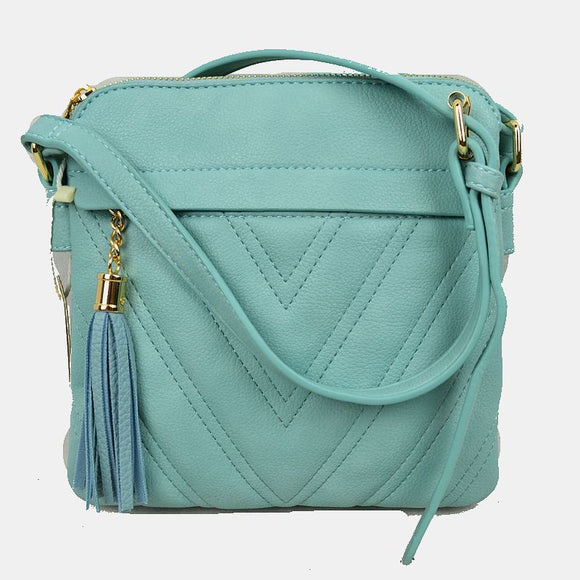 Chevron pattern crossbody with tassel - light blue