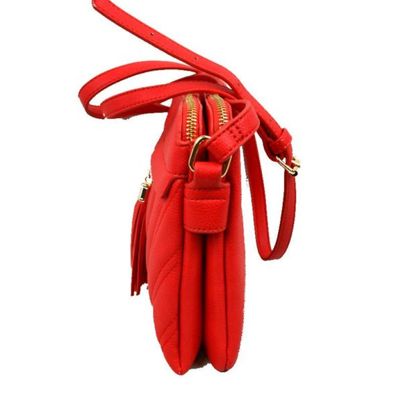 Chevron pattern crossbody with tassel - red