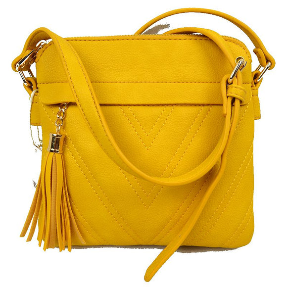 Chevron pattern crossbody with tassel - yellow
