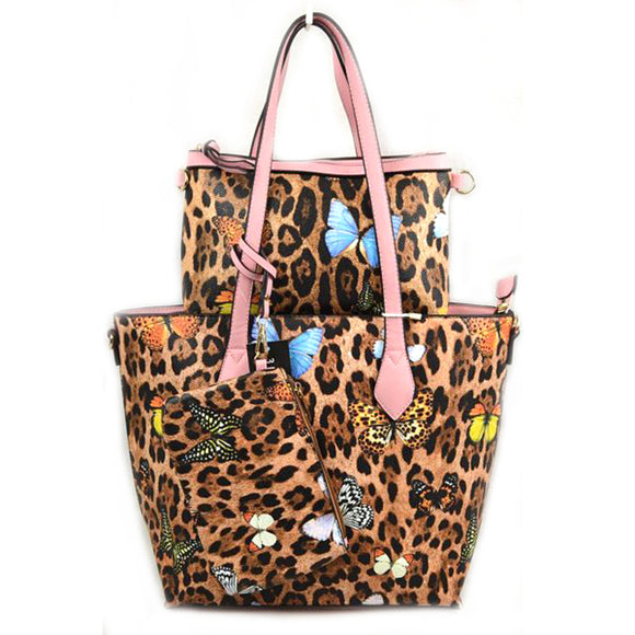3 in 1 Leopard and Butterfly print tote set - pink