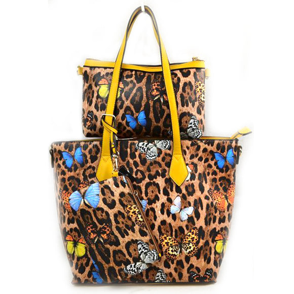 3 in 1 Leopard and Butterfly print tote set - yellow