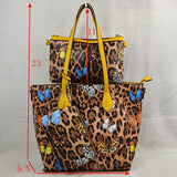 3 in 1 Leopard and Butterfly print tote set - turquoise