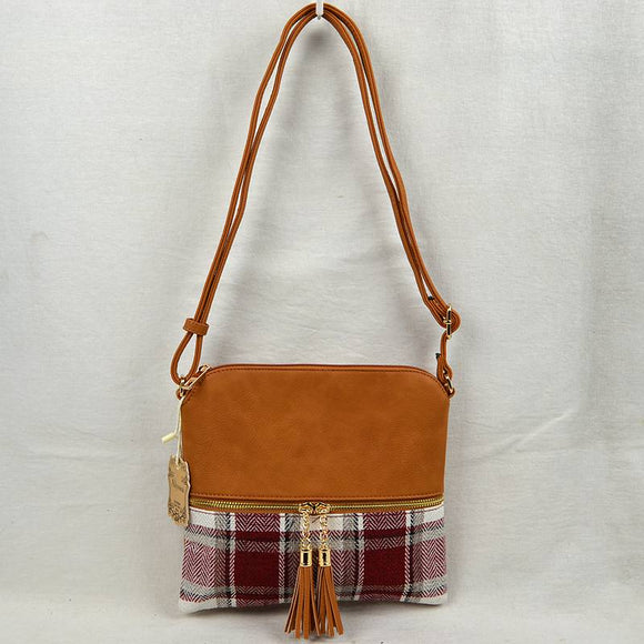 Plaid & tassel crossbody bag - brown