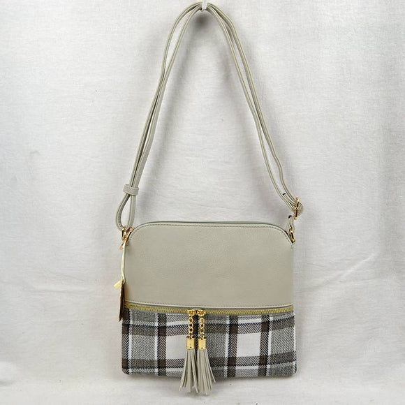 Plaid & tassel crossbody bag - light grey