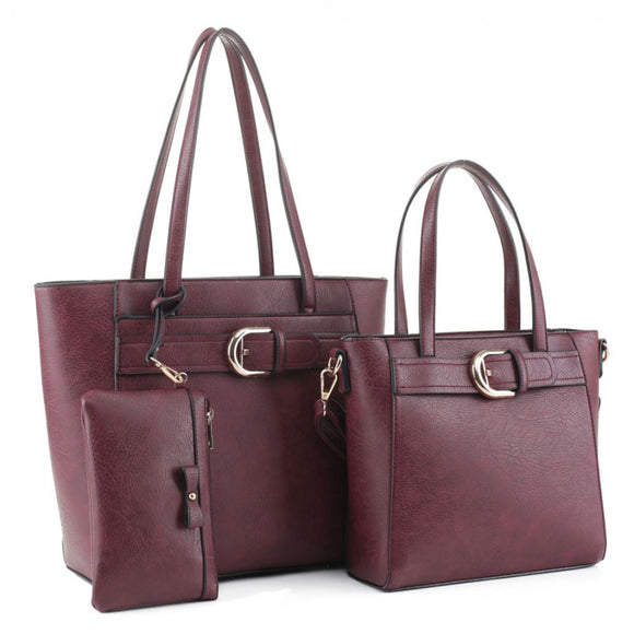 2 in 1 Belted tote set - wine