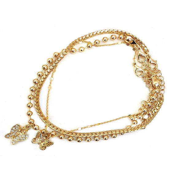 Multi chain w/ Butterfly charm bracelet - gold
