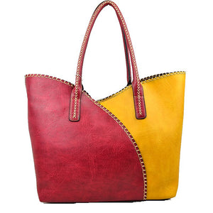 Stitched color-block tote with pouch - red yellow