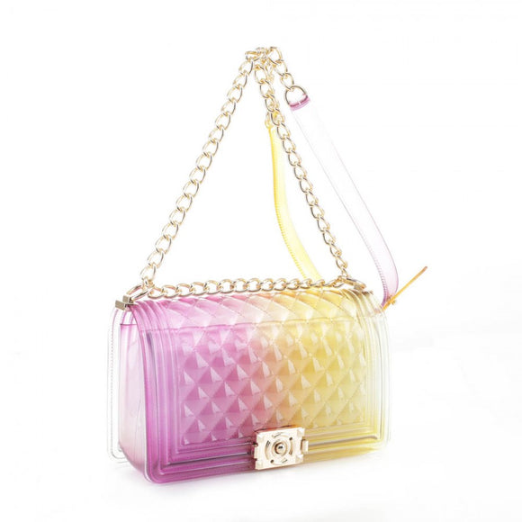 Zelly chain crossbody bag - purple yellow