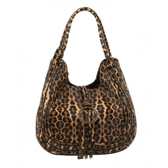 Tassel hobo bag - brown leopard