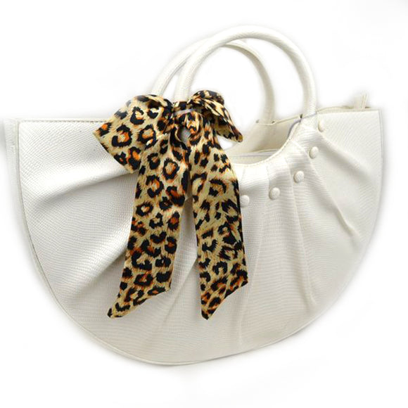 Snake embossed half moon bag - white