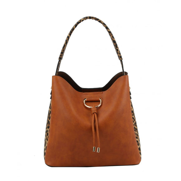 Leopard side pattern hobo bag - tan