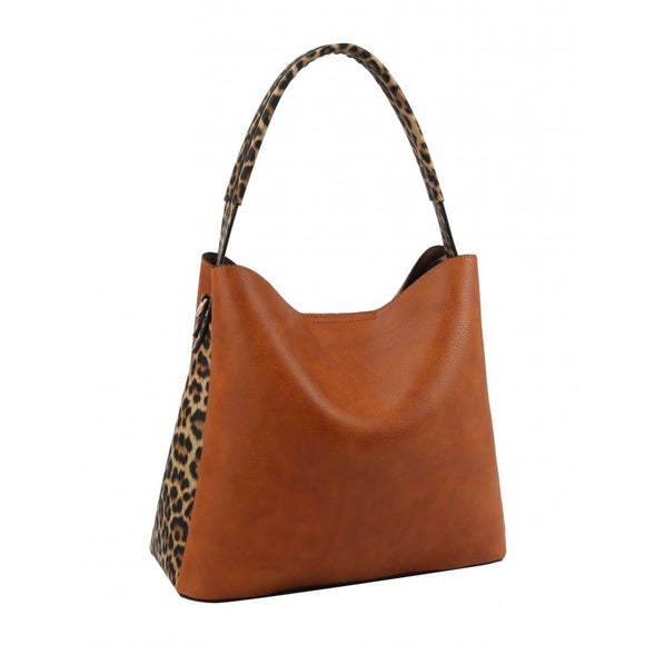 Leopard side pattern hobo bag - black