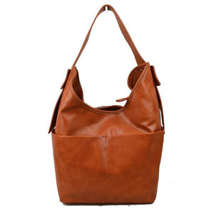 Belted strap hobo bag - brown