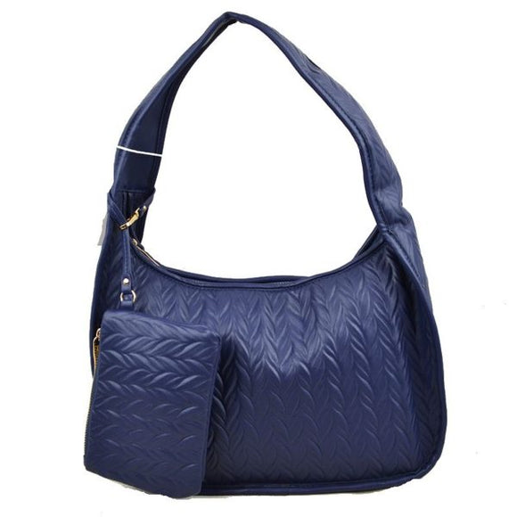 Weaving pattern hobo bag - navy blue