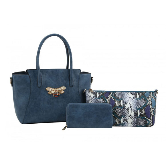 Bee tote & snake pouch set - blue