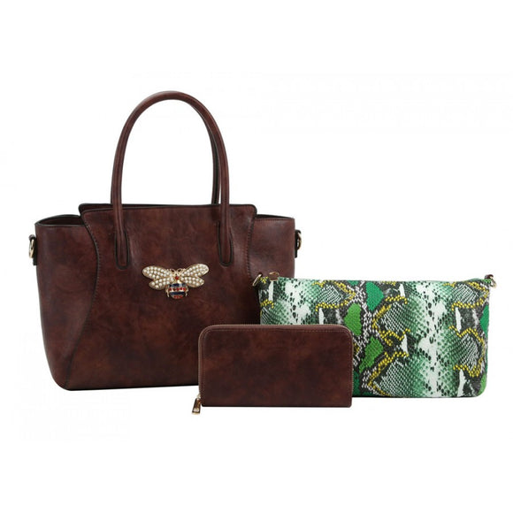 Bee tote & snake pouch set - coffee
