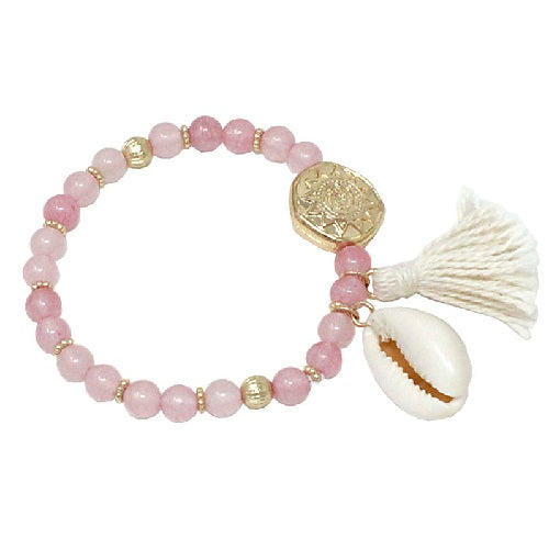 Glass bead w/ shell - pink