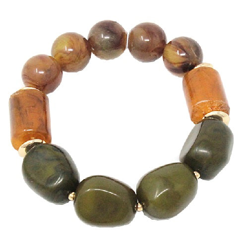 Homaica bead bracelet - brown & olive