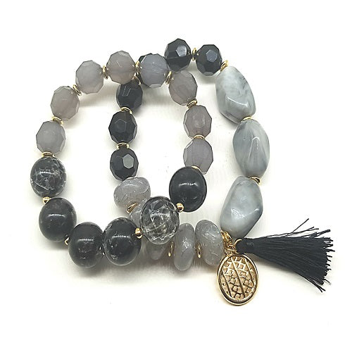 2 single homaica bead bracelet - black
