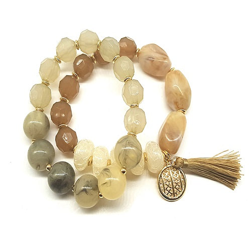 2 single homaica bead bracelet - natural