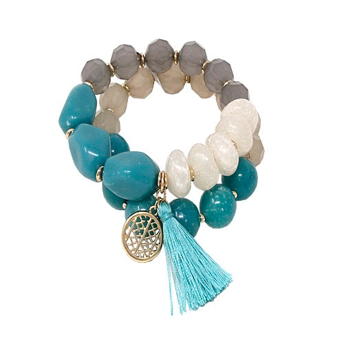 2 single homaica bead bracelet - turquoise