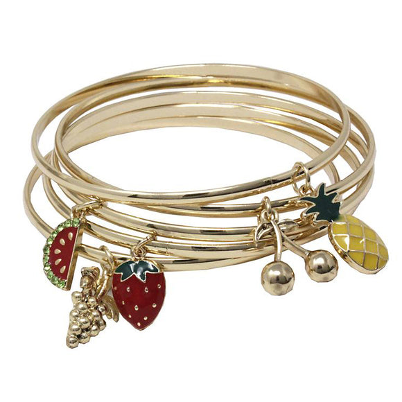 [6PC SET] Multi bangle with fruit charm - gold