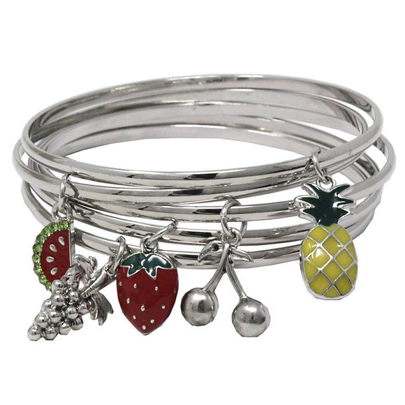 [6PC SET] Multi bangle with fruit charm - silver