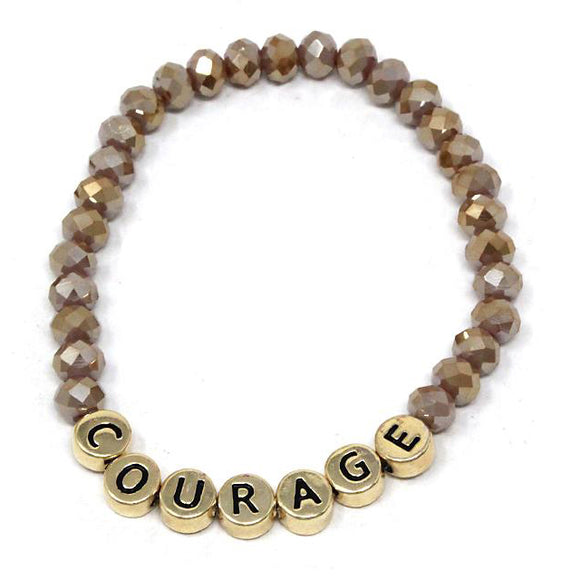 [6PC SET] Courage glass bead bracelet - brown