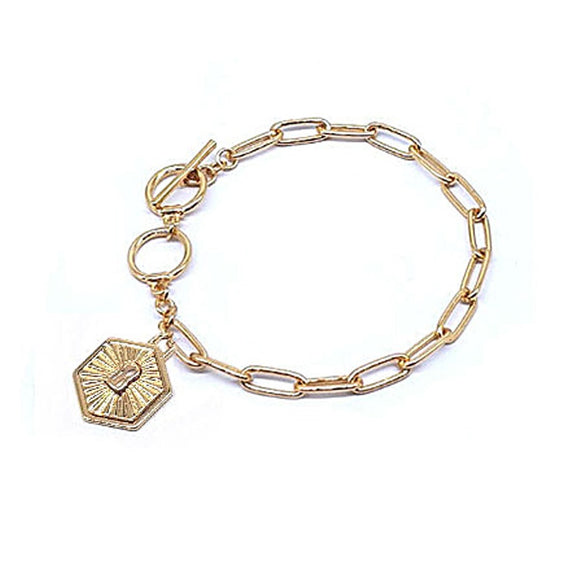 [2 PC] Lock w/ designer inspired bracelet - gold