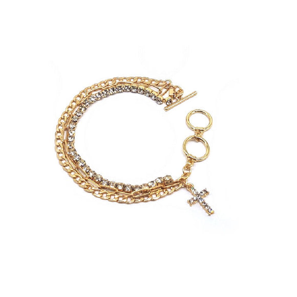 [2 PC] Cross w/ rhinestone bracelet - gold