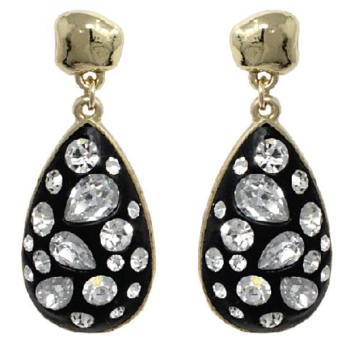 Tear drop & crystal earrings