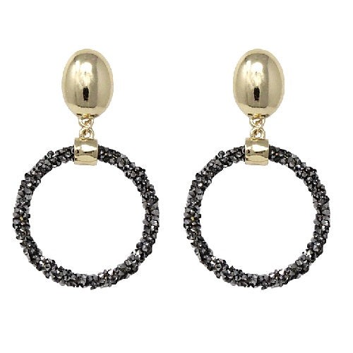 Round pave stone earring