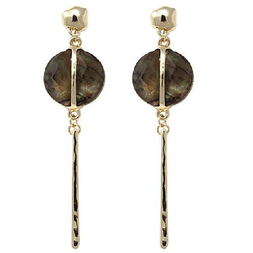 Metal bar & shell earring - gold