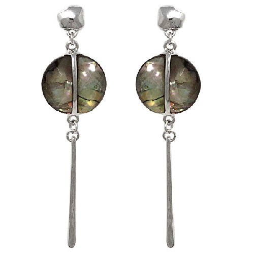 Metal bar & shell earring - silver
