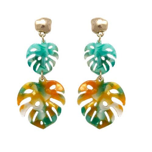 Acetate leaf earring - orange multi