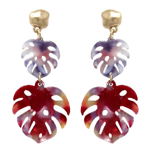 Acetate leaf earring - red multi