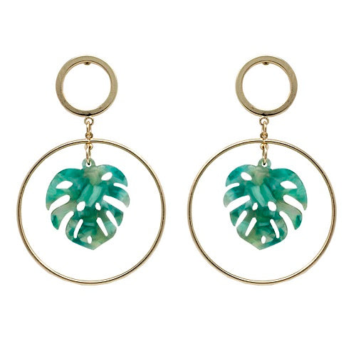 Acetate Leaf earring - green