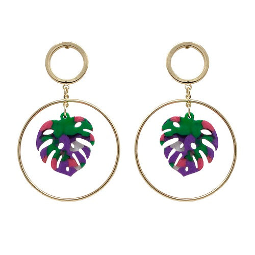 Acetate Leaf earring - purple