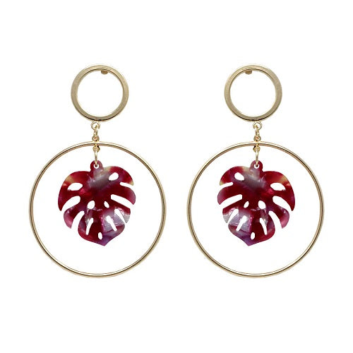 Acetate Leaf earring - red