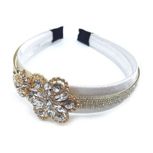 Flower & pave stripe headband - white