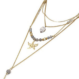 Multi layered sea life necklace set - gold