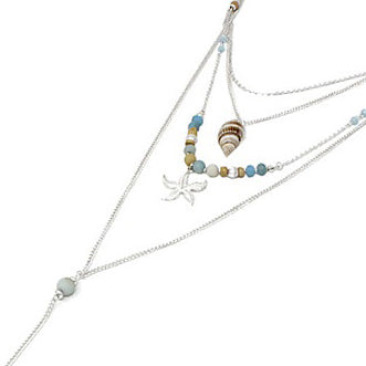 Multi layered sea life necklace set - silver