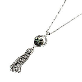 Abalone w/ tassel necklace set - silver