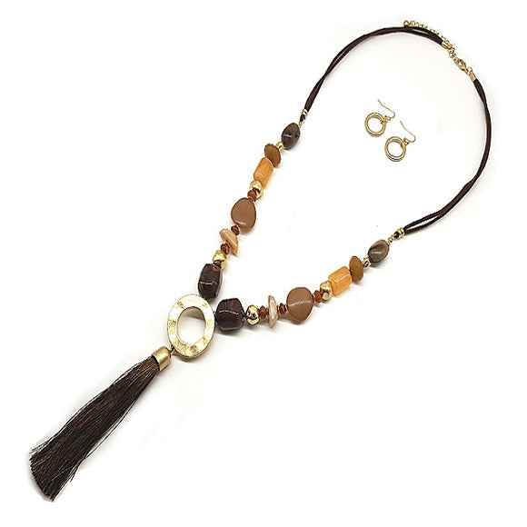 Color bead w/ tassel necklace set - brown