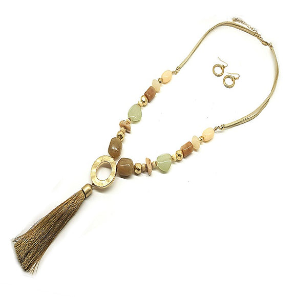 Color bead w/ tassel necklace set - natural