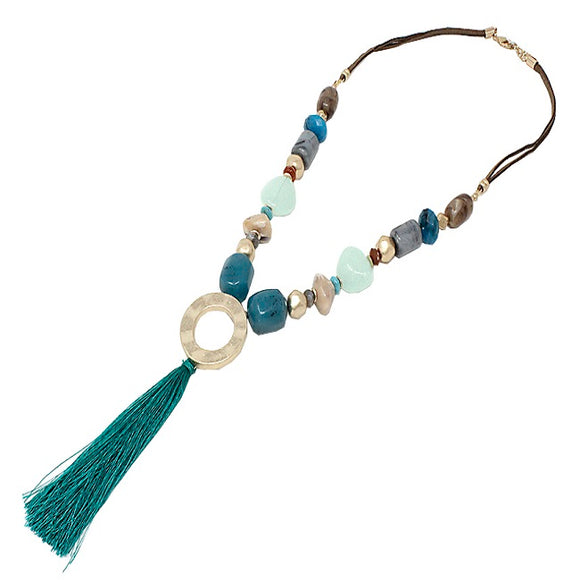 Color bead w/ tassel necklace set - teal