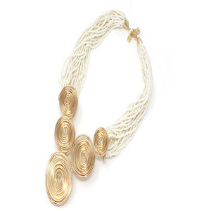 WIRE SWIRL NECKLACE SET - NATURAL