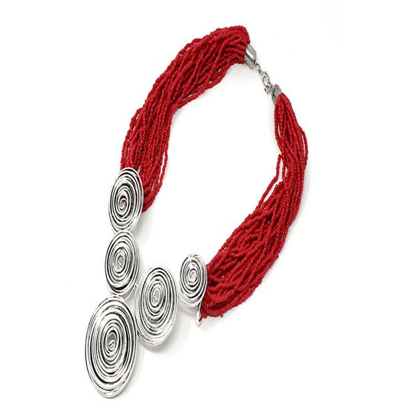 WIRE SWIRL NECKLACE SET - CORAL RED